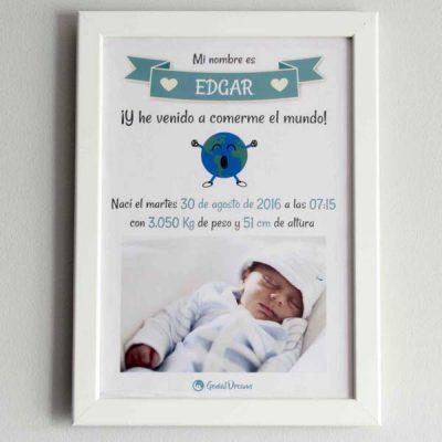 Cuadro de nacimiento «He venido a comerme el mundo»