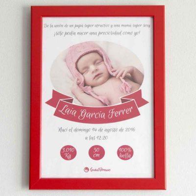 Cuadro de nacimiento «Una preciosidad como yo»