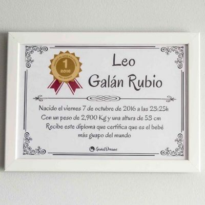 """Cuadro de nacimiento """"Diploma al bebé más guapo"""""""